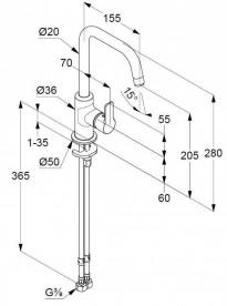 Смеситель для раковины Kludi Pure&Easy однорычажный без донного клапана 370240565