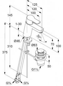 Смеситель для раковины Kludi Pure&Easy однорычажный для безнапорных водонагревателей 372760565