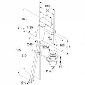 Смеситель для раковины Kludi Pure&Easy XL однорычажный с донным клапаном 371900565