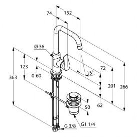 Смеситель для раковины Kludi TERCIO без донного клапана однорычажный хром 380240575