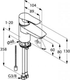 Смеситель для раковины Kludi TERCIO с цепочкой однорычажный хром 384800575