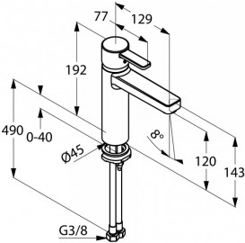 Смеситель для раковины Kludi ZENTA 120 без донного клапана однорычажный хром 382650575