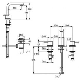 Смеситель для раковины Kludi ZENTA на три отверстия двухрычажный хром 383930575
