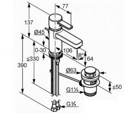 Смеситель для раковины Kludi ZENTA с донным клапаном однорычажный хром 382520575