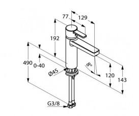 Смеситель для раковины Kludi ZENTA XXL с донным клапаном однорычажный хром 382640575