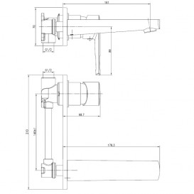 Смеситель для раковины настенный Volle Benita однорычажный латунь хром 15171300