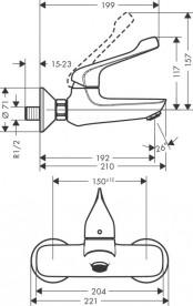 Смеситель для раковины однорычажный настенный Hansgrohe коллекция Novus хром 71923000
