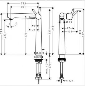 Смеситель для раковины однорычажный высокий Hansgrohe коллекция Talis S 72116000