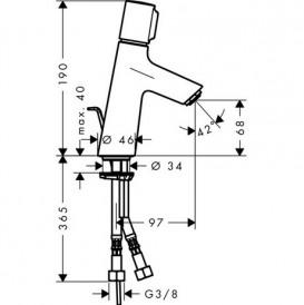 Смеситель для раковины одновентильный Hansgrohe коллекция Talis S хром 72040000