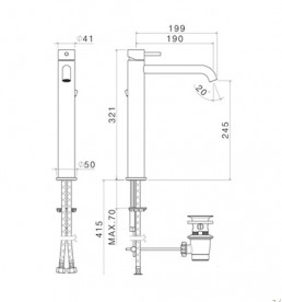 Смеситель для раковины Vema Tiber steel с донным клапаном нержавеющая сталь V17020AC001