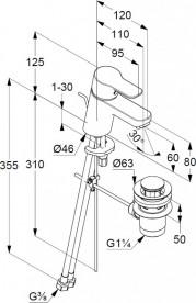 Смеситель для раковины Kludi PURE&EASY 60 однорычажный  хром 373850565