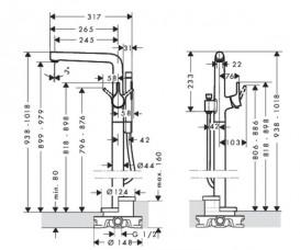 Смеситель для ванны напольный однорычажый с душем Hansgrohe коллекция Talis S хром 72412000