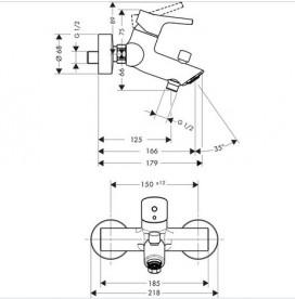 Смеситель для ванны настенный однорычажый Hansgrohe коллекция Talis S хром 72401000