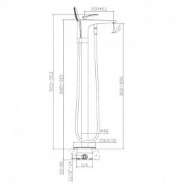 Смеситель для ванны отдельностоящий Volle однорычажный с ручным душем хром 12-33-101