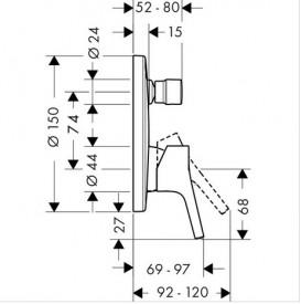 Смеситель скрытый (встраиваемый) Hansgrohe коллекция Talis S хром 72406000