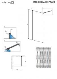 Стенка душевая Radaway Modo X II Black Frame Walk-in 130 см черный/стекло Frame 389334-54-56