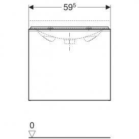 Тумба для раковины Geberit Acanto с укороченным вылетом ДСП лава матовый/лава глянцевое стекло 500.614.JK.2