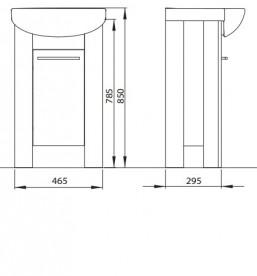 Тумба под раковину Kolo Runa напольная 46.5 см венге/белый глянец 89475000