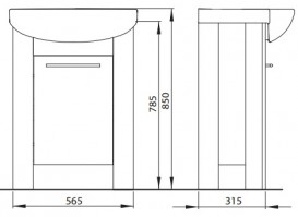 Тумба под раковину Kolo Runa напольная 56.5 см венге/белый глянец 89476000