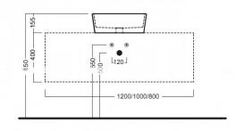 Тумба подвесная Hatria Sliding wood system 80 с отверстием в центре дерево орех/белый глянец YXT592