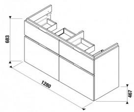 Тумба подвесная под раковину Jika Cubito 130 см венге H40J4274024611
