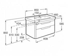 Тумба подвесная с раковиной для ванной Roca Dama-N 80,8х43,4 см белый глянец A851048806