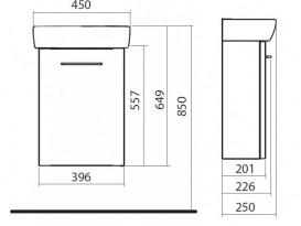 Тумба с раковиной подвесная Kolo Nova Pro 45 см серый ясень M39009000