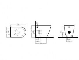 Унитаз напольный приставной Hatria Fusion 35.5х54 см антрацит A0YXVD08