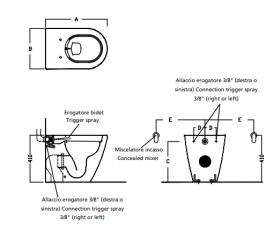 Унитаз напольный приставной Hatria Fusion 35.5х54 см с функцией биде белый VBYXVD01