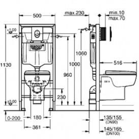 Набор Grohe Solido 4 в 1: подвесной унитаз с сиденьем и крышкой + система инсталляции с панелью смыва Skate Air 39191000