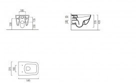 Унитаз подвесной безободковый GSI Sand без скрытого крепежа (с установкой снизу) 9015 11