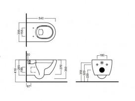 Унитаз подвесной безободковый Hatria Fusion 35.5х54 см пепельный A0Y1CC45