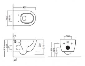 Унитаз подвесной безободковый Hatria Fusion 35х48.5 см белый Y1XQ01