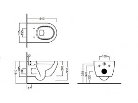 Унитаз подвесной безободковый Hatria Fusion 35.5х54 см песок A0Y1CC26