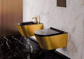 Унитаз подвесной Catalano Gold & Silver 55х35 керамика черный/золото 1VS55NRNO