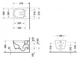 Унитаз подвесной Duravit ME by Starck Rimless 37х57 см керамика белый 25290900001