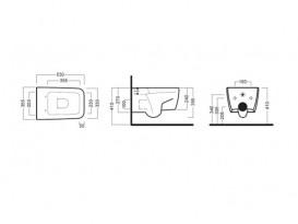 Унитаз подвесной Hatria Fusion Q 35х53 см без боковых отверстий белый YXWY01