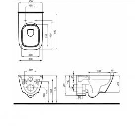 Унитаз подвесной Kolo Modo Rimfree с сидением инсталляцией Geberit Duofix Delta и клавишей смыва Delta 11 L33120000 + L30112000 + 458.126.00.1 + 115.120.11.1