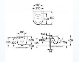 Унитаз подвесной Roca Meridian Compacto со скрытой инсталляцией Roca Duplo A89009000C