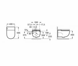 Унитаз подвесной Roca Meridian In-Tank с интегрированным в чашу бачком крышкой с сиденьем и монтажной рамой L-типа A893301000