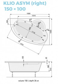 Ванна аэро- и гидромассажная акриловая PoolSpa Klio Asym 150х100 R правая система Smart 2 + белый PHAC310ST2C1960
