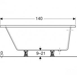 Ванна акриловая Geberit Selnova 140x100 выпуск справа с ножками белый 554.270.01.1