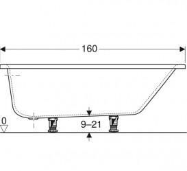 Ванна акриловая Geberit Selnova 160x100 выпуск справа с ножками белый 554.274.01.1