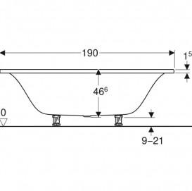 Ванна акриловая Geberit Tawa Slim rim Duo 190х90 с ножками белый 554.125.01.1