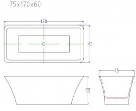 Ванна акриловая отдельностоящая Volle 170х75 с лицевой панелью сифон-автомат белая 12-22-348