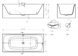 Ванна акриловая отдельностоящая Volle 170х75 с лицевой панелью и сифоном cliсk-claсk белая 12-22-858