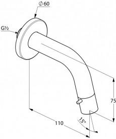 Вентиль для раковины настенный Kludi BOZZ с управлением в изливе хром 380170530
