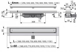 Водосточный желоб AlcaPlast APZ107 Floor Low 1150 мм с решеткой APZ107-FLOOR-1150