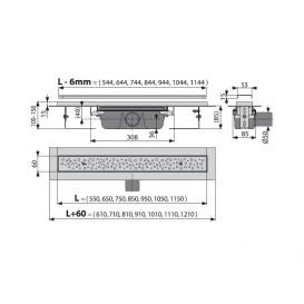 Водосточный желоб AlcaPlast APZ11 Antivandal 650 мм с решеткой APZ11-650L