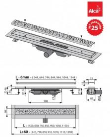 Водосточный желоб AlcaPlast APZ111 650 мм с решеткой Antivandal APZ111-650L